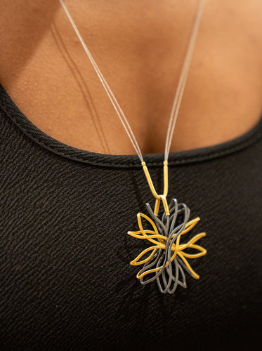 Sterling Silver Oxidized and Gold Plated Flower Long Necklace