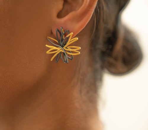 Sterling Silver Oxidized and Gold Plated Flower Stud Earrings