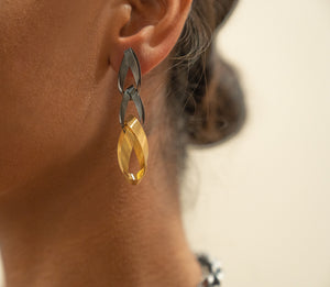 Sterling Silver Oxidized and Gold Plated Ribbon Dangling Earrings