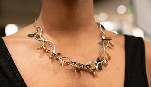 Sterling Silver Oxidized and Gold Plated Leaf Shaped Necklace