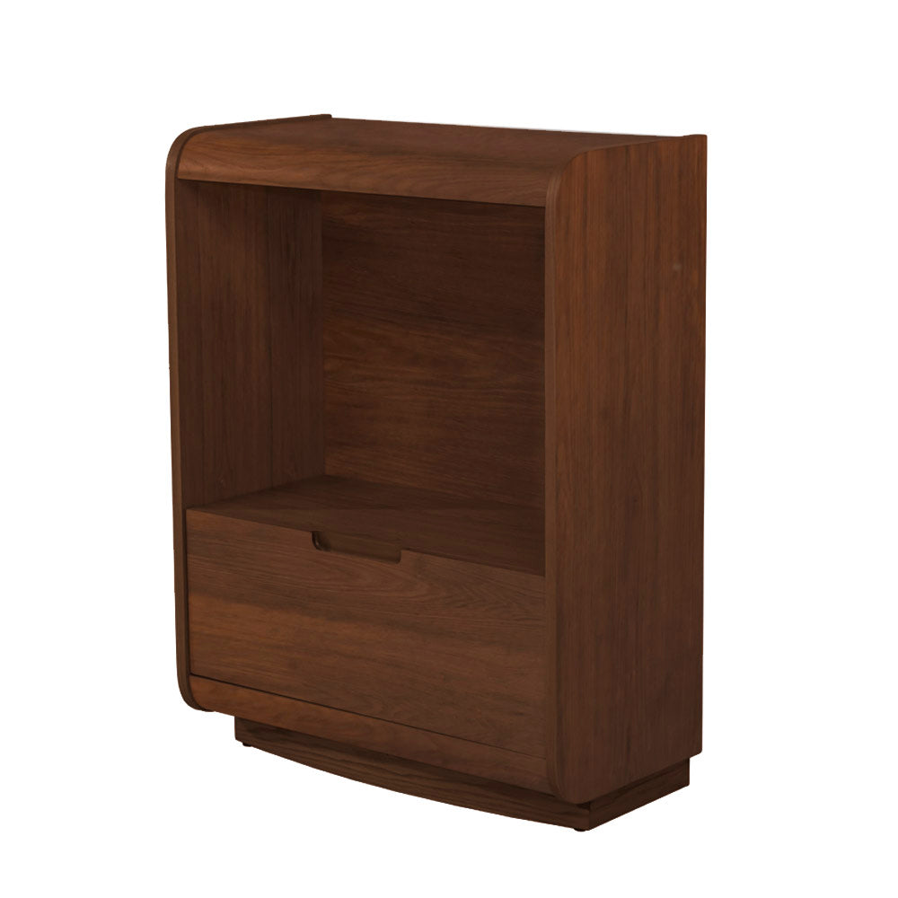 PC207 - Universal Short Bookcase with Drawer Walnut
