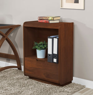 PC207 - Universal Short Bookcase with Drawer Walnut - PRE ORDER FOR MARCH DELIVERY