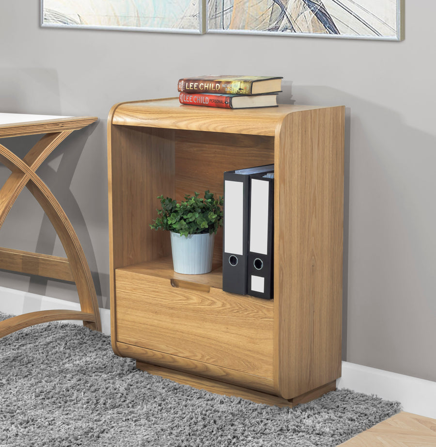 PC207 - Universal Short Bookcase with Drawer Oak - PRE ORDER FOR MARCH DELIVERY