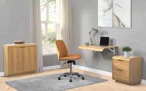 PC206 - Wall Mounted Drop Desk Oak - PRE ORDER FOR DELIVERY W/C 4/1/21
