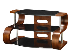 Jual Jf203 Walnut and Black Glass TV Stand