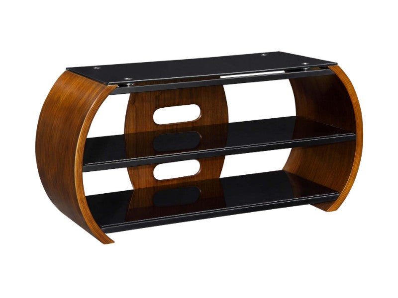 JF208 Jual Walnut TV Stand with Black Glass