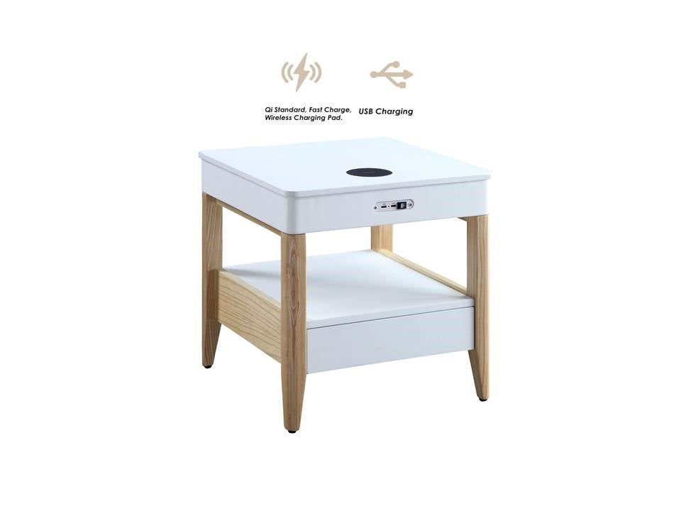 JF401 San Francisco Smart Charging Bedside/Lamp Table (White/Oak)
