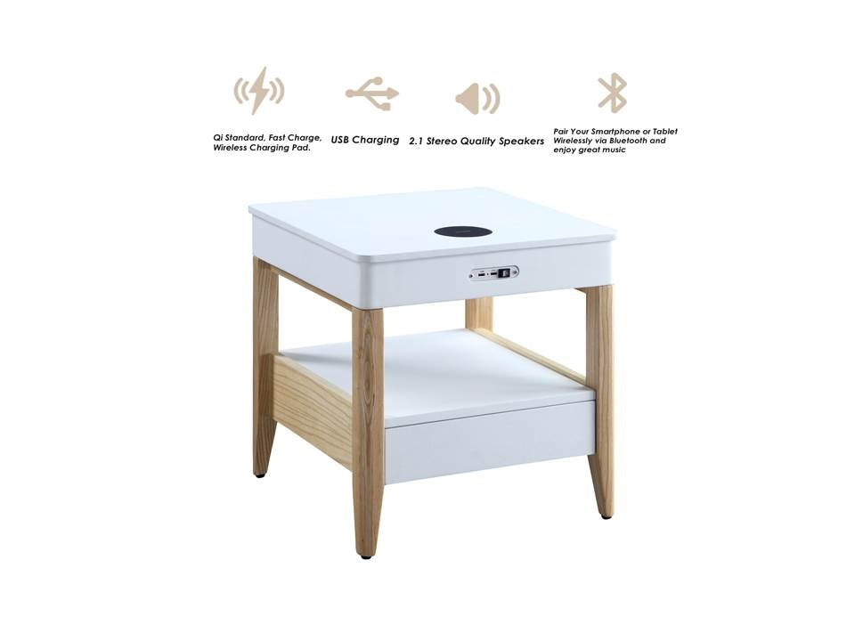 JF402 San Francisco Speaker/Charging Bedside/Lamp Table (White/Oak)
