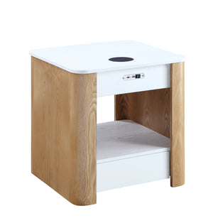 JF403 San Francisco Smart Charging Bedside/Lamp Table (White/Oak)