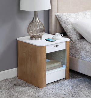 JF404 San Francisco Speaker/Charging Bedside/Lamp Table with Light (White/Oak)