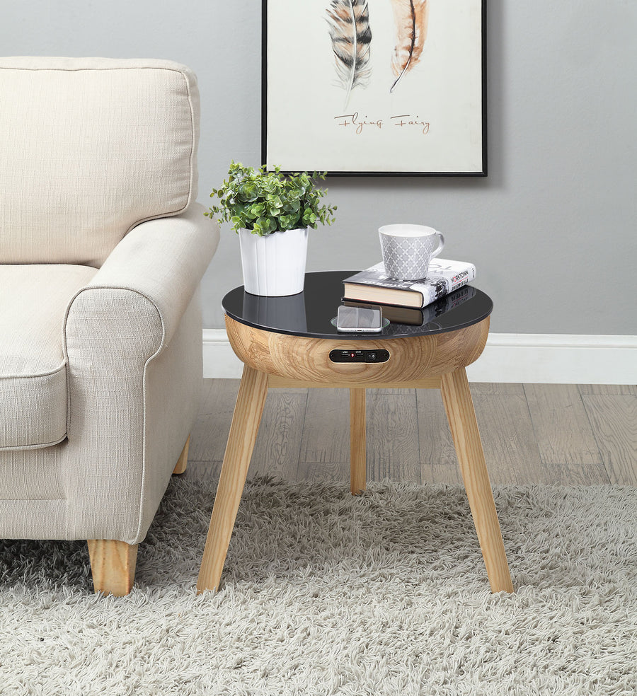 JF710 - San Francisco Speaker/Charging Lamp Table Oak & Black Glass