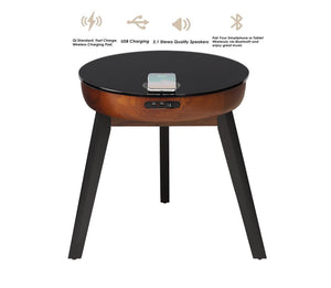 JF710 - San Francisco Speaker/Charging Lamp Table Walnut & Black Glass - PRE ORDER FOR DELIVERY W/C 06/01/20