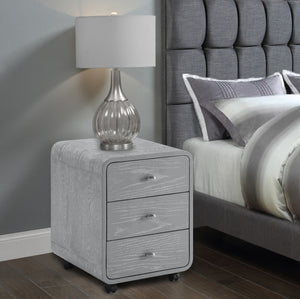 PC201B Curved Bedside 3 Drawer (Grey)