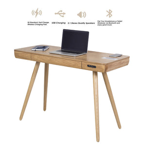 PC709- San Francisco Smart Speaker/Charging Desk Oak- PRE ORDER FOR DELIVERY W/C 17/08/20