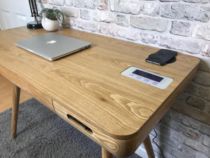 PC709- San Francisco Smart Speaker/Charging Desk Oak