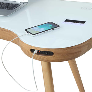 PC711- San Francisco Smart Speaker/Charging Desk Oak - PRE ORDER FOR DELIVERY IN MAY