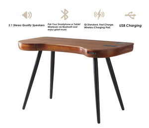 PC711- San Francisco Smart Speaker/Charging Desk Walnut - PRE ORDER FOR DELIVERY W/C 17/08/20