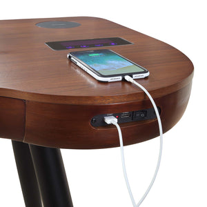 PC711- San Francisco Smart Speaker/Charging Desk Walnut