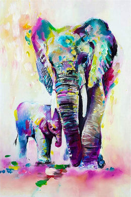 Colorful Mother Elephant with Baby DIY Painting kit