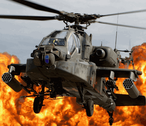 Army Chopper With Blazing Fire in the background