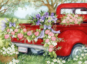 Beautiful Flowers on red Car - Diamond painting