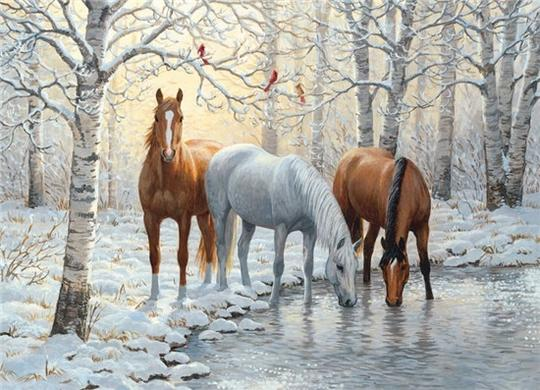 Horses in Winter Diamond Painting Kit