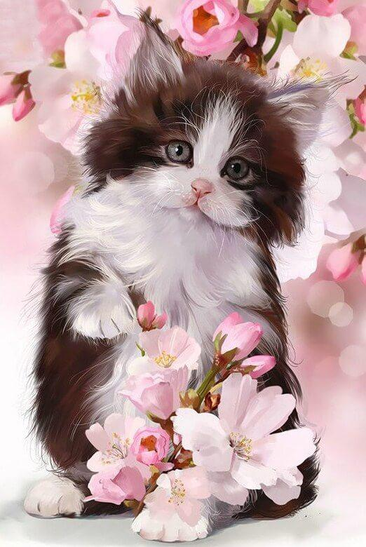 Cat & Pink Flowers Painting Kit