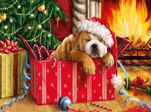 Load image into Gallery viewer, Christmas Dog - Diamond Painting Art Kit