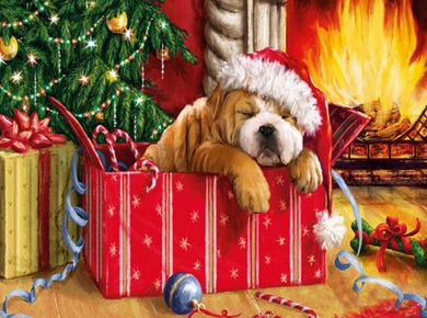 Christmas Dog - Diamond Painting Art Kit
