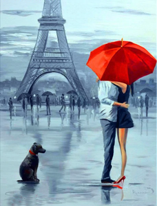 Romantic Couple in front of  Eiffel tower in FrancePaint By Diamonds