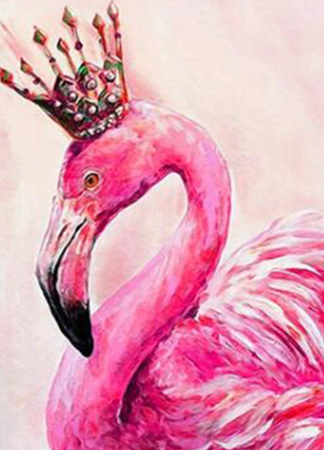 Flamingo Wearing Crown - 5D Diamond Kit