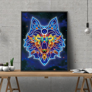 Colorful Night Glow Wolf Diamond Painting