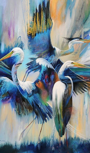 Heron Bird Diamond Painting Animal - Art Kit