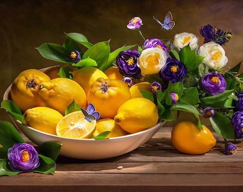 Lemons & Flowers Diamond Painting