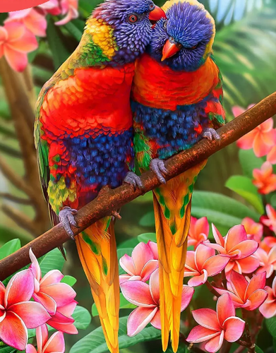 Parrot Couple Birds - Paint by Diamonds