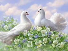 Load image into Gallery viewer, Pigeon and Flowers Diamonds Painting - Diamond Art Kit