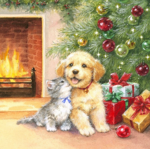Puppy and Kitten Enjoying Christmas Paint By diamonds