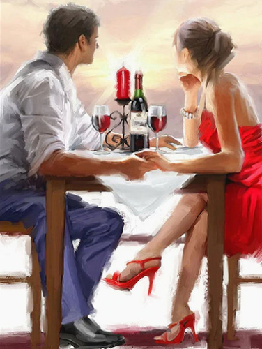 Drinking Couple at sunset Paint By Diamonds