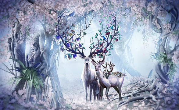 Stag in Fantasy Forest - Diamond Painting