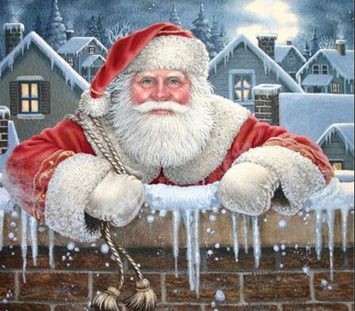 Santa Clause on Christmas at Snow Wall Diamond Painting kit