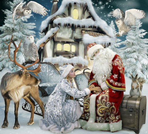 Santa Claus and Girl on Christmas - Diamond Painting