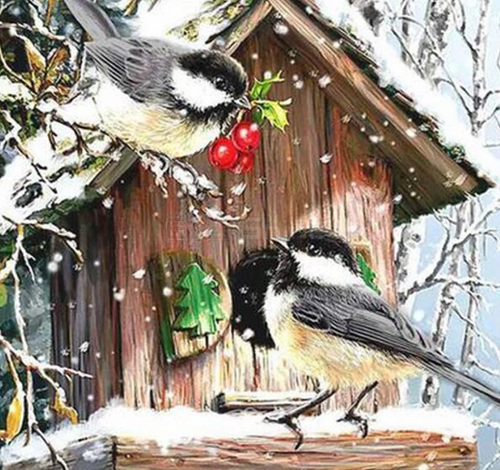 Sparrow Birds in Winter - 5D Diamond Art Painting