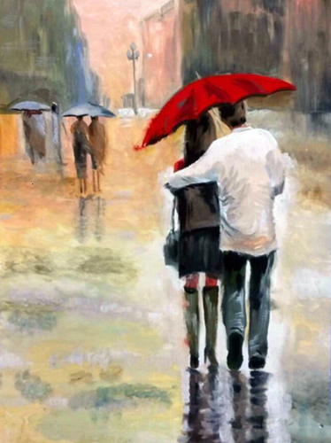 Walking Couple in Romantic Rain Paint by Diamond
