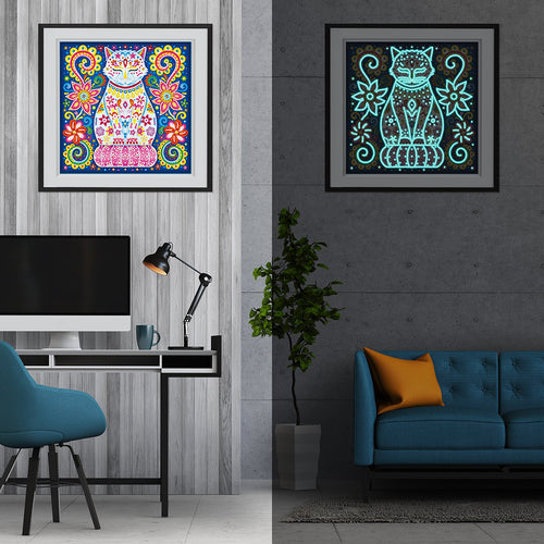 Floral Egyptian Cat Night Glow Diamond Painting