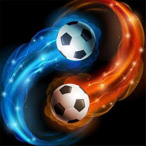 Blue & Red Fire Soccer Ball