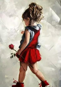 Red rose little girl Paint By Diamonds