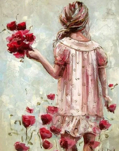 Little Sad Girl with Roses Paint By Diamonds