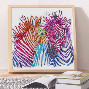 Zebra's Colorful Stripes - Special Diamond Painting