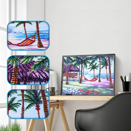 Coconut Tree Beach Landscape Special Diamond Painting