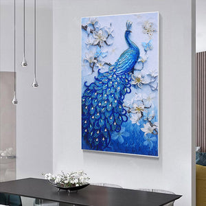 Blue Peacock - Special Shaped Diamond Painting